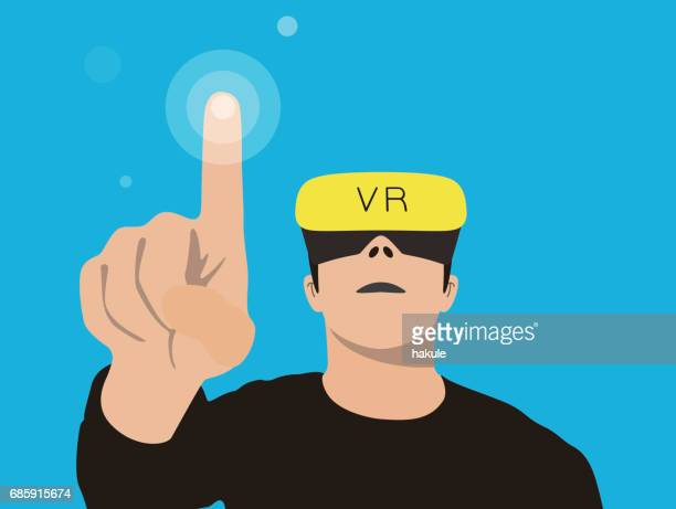 man wearing an visual reality eyeglasses, touching the point, vector illustration