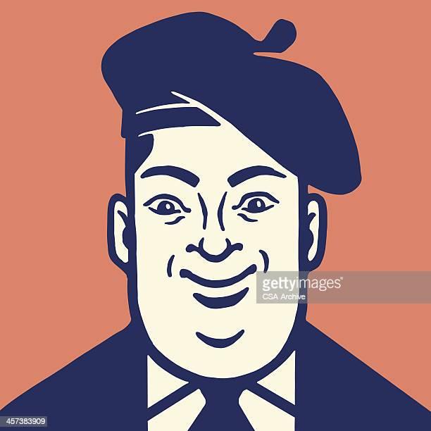 man wearing beret - beret stock illustrations