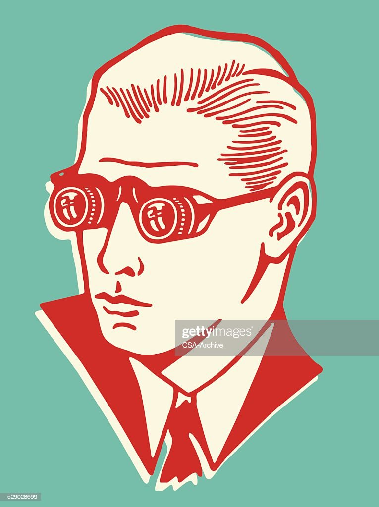 Man Wearing Binocular Eyeglasses