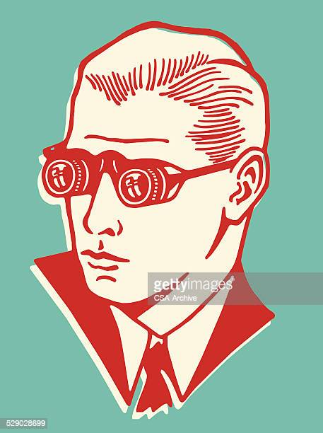 man wearing binocular eyeglasses - retro style stock illustrations