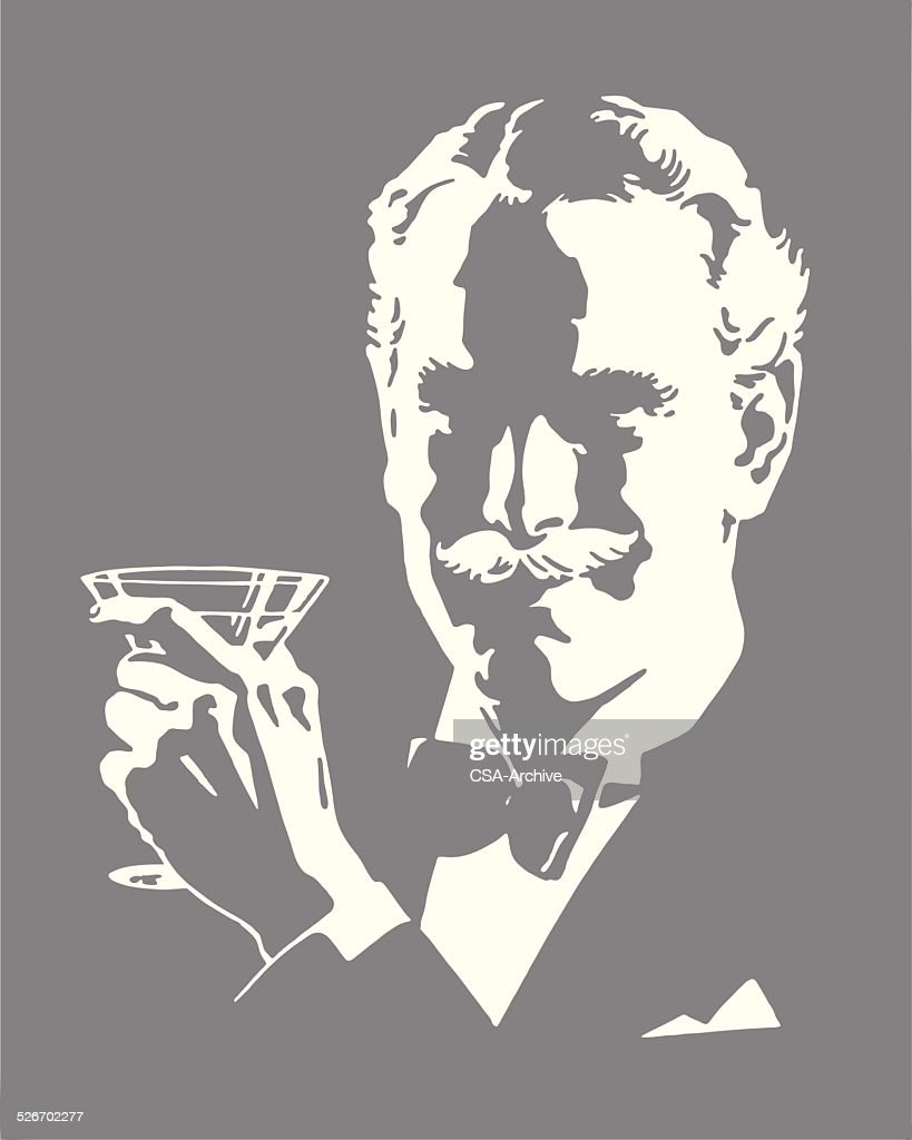 Man Wearing Bow Tie Holding Cocktail : stock illustration