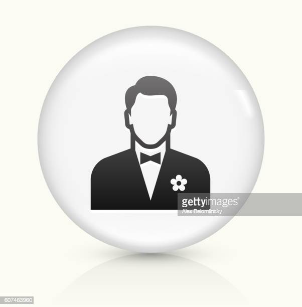 Man Wearing  Bow Tie icon on white round vector button