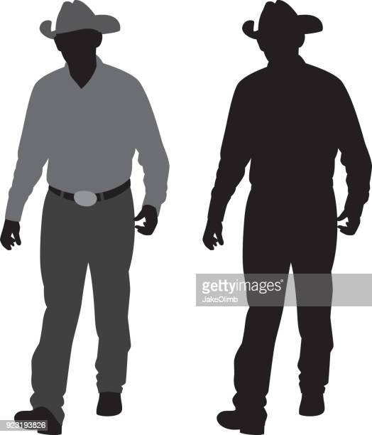 Man Wearing Cowboy Hat Silhouette