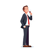 Man wearing formal business suit drinking tasting red wine in a wineglass. Flat vector clipart illustration.