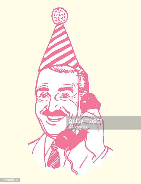 man wearing party hat while on the phone - stag night stock illustrations, clip art, cartoons, & icons