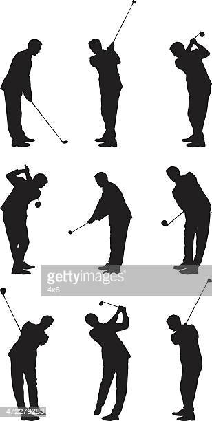 man wearing suit practicing his golf swing - teeing off stock illustrations, clip art, cartoons, & icons