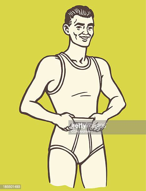 man wearing underwear - underwear stock illustrations, clip art, cartoons, & icons