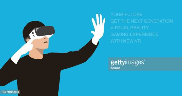 man wearing Virtual reality glasses. hands holding, playing games