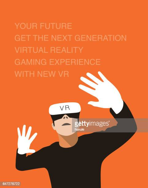 man wearing Virtual Reality glasses. hands up, playing games
