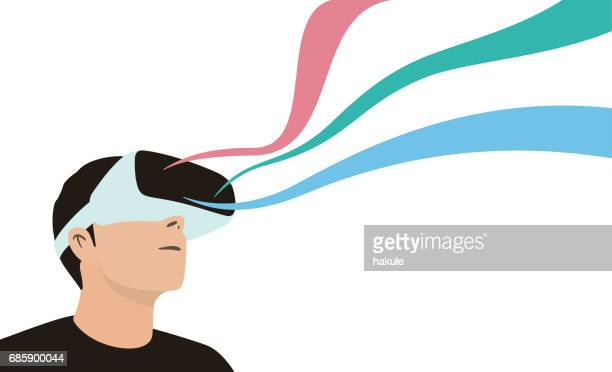 illustrazioni stock, clip art, cartoni animati e icone di tendenza di man wearing virtual reality glasses. look at the virtual sky, the image floats like a ribbon - realtà virtuale