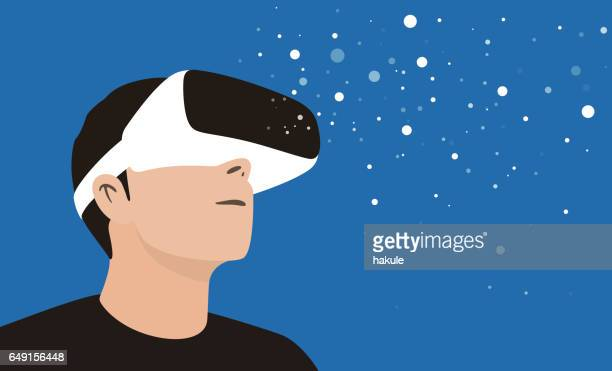 illustrazioni stock, clip art, cartoni animati e icone di tendenza di man wearing virtual reality glasses. look at the virtual sky - realtà virtuale