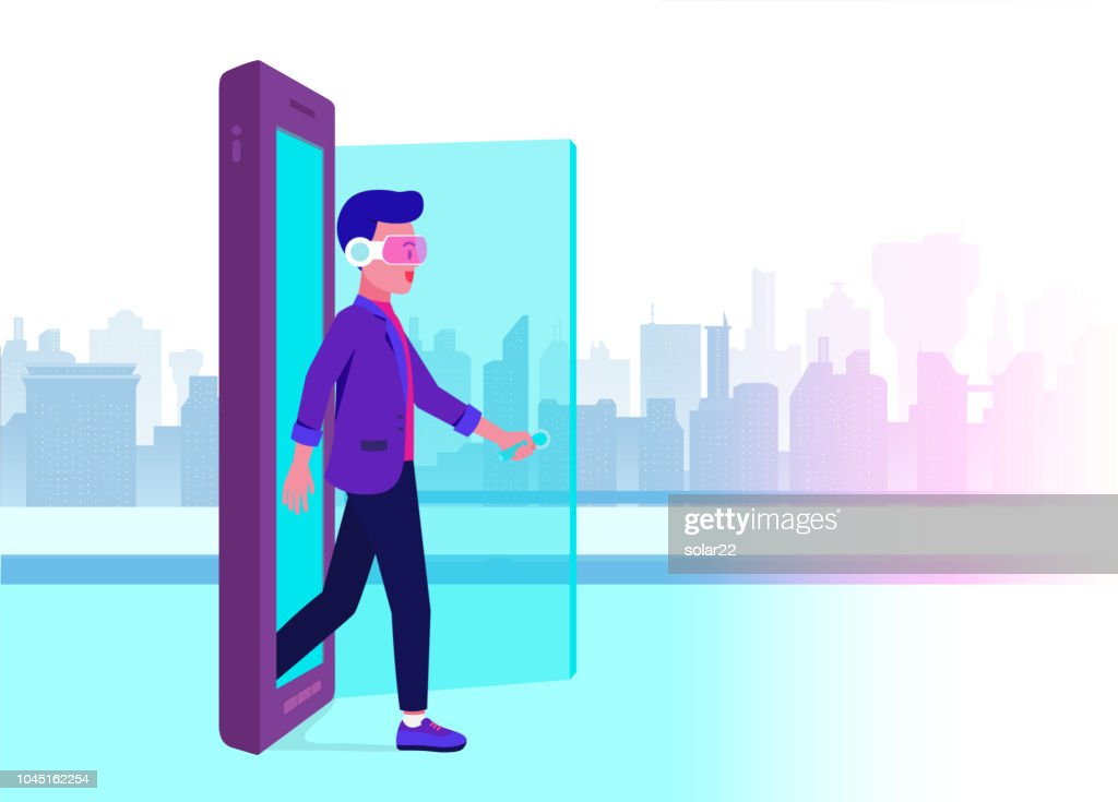 Man wearing VR glasses opening door and walking out of mobile into future world.