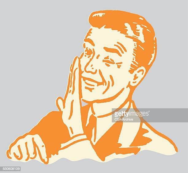 man whispering behind hand and pointing down - confidential stock illustrations