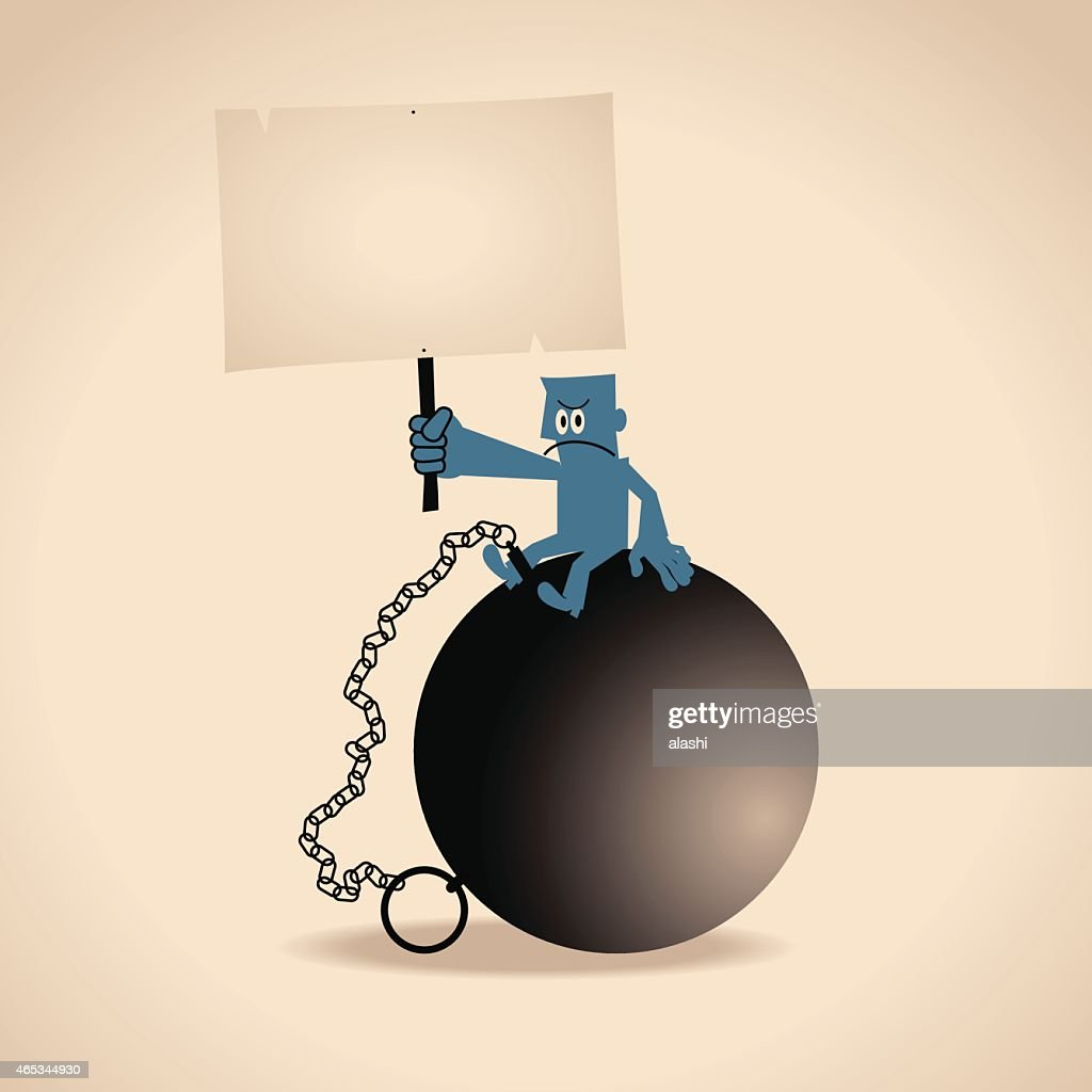 Man with a ball and chain, holding a blank sign