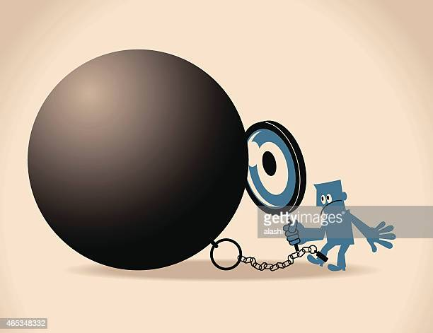 Man with a ball and chain, holding a magnifying glass
