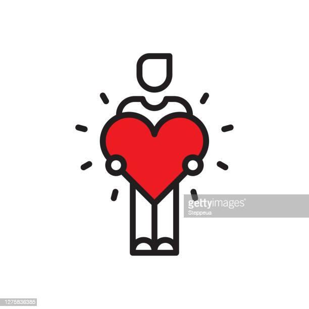illustrazioni stock, clip art, cartoni animati e icone di tendenza di uomo con un grande cuore - donazione