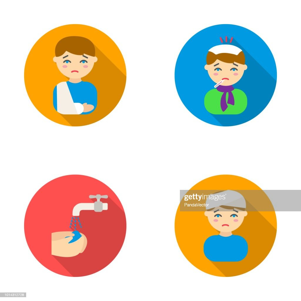 A man with a broken arm in a cast, a patient with a thermometer in his mouth in a scarf, hands under a stream of water, wash, a boy with a bandaged head bandage. Sick set collection icons in flat style vector symbol stock illustration web.