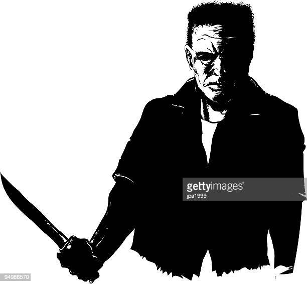 man with a knife - murderer stock illustrations, clip art, cartoons, & icons