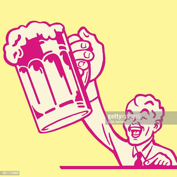 man with a mug of beer - stag night stock illustrations, clip art, cartoons, & icons