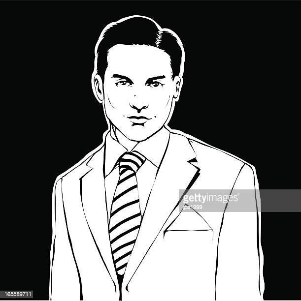 stockillustraties, clipart, cartoons en iconen met man with a suit - oudere mannen