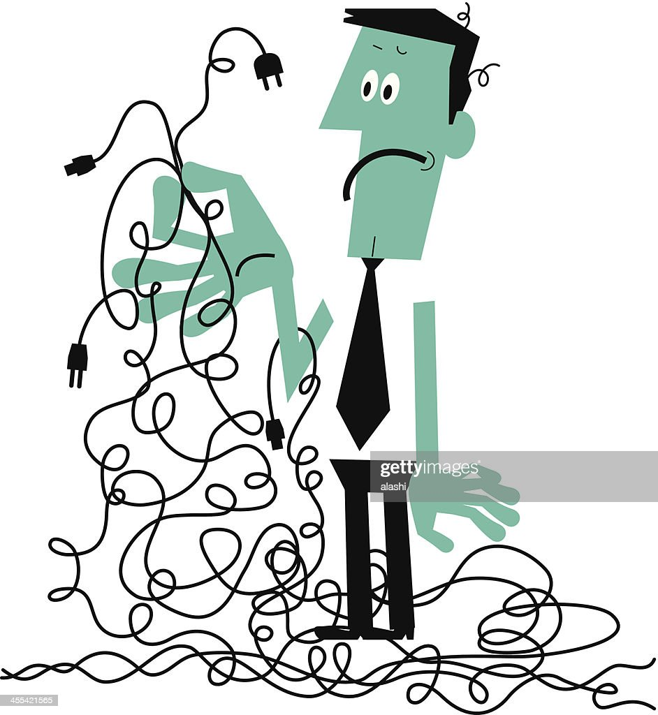 Man With A Tangled Mess Of Wires Vector Art | Getty Images