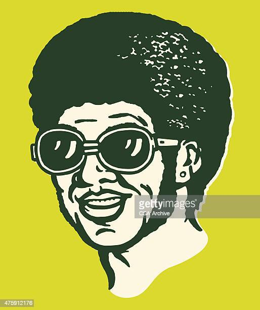 man with afro wearing sunglasses - afro stock illustrations