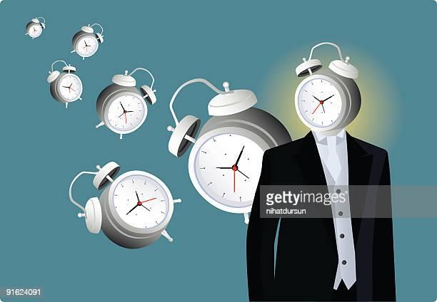 Man with an alarm clock head