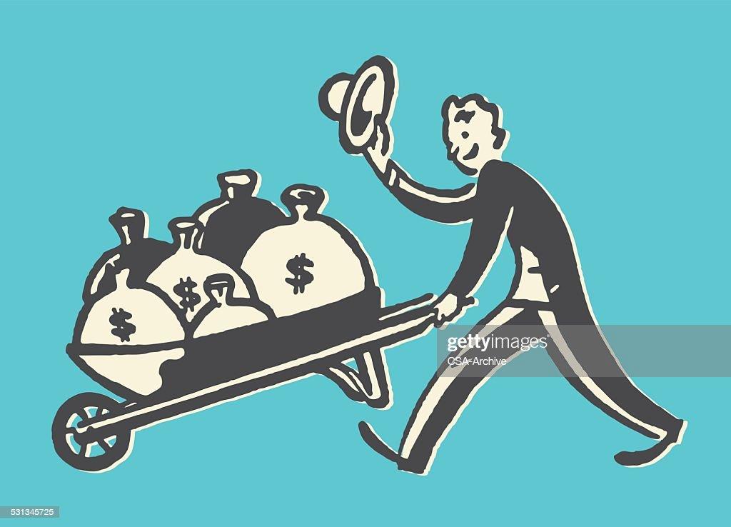Man with Bags of Money in Wheelbarrow