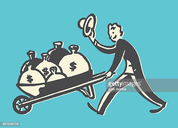 man with bags of money in wheelbarrow - wheelbarrow stock illustrations, clip art, cartoons, & icons