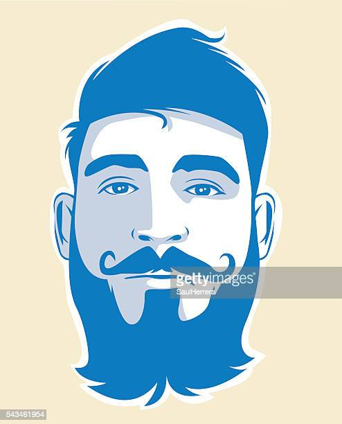 Man with beard and beige background