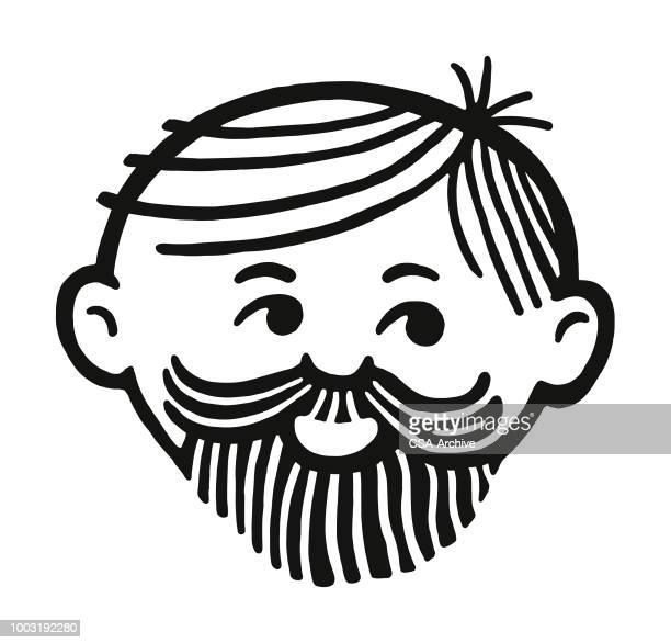 ilustrações de stock, clip art, desenhos animados e ícones de man with beard and mustache - cavanhaque