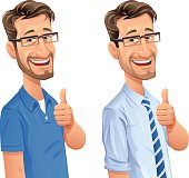 Man With Beard Gesturing Thumbs Up
