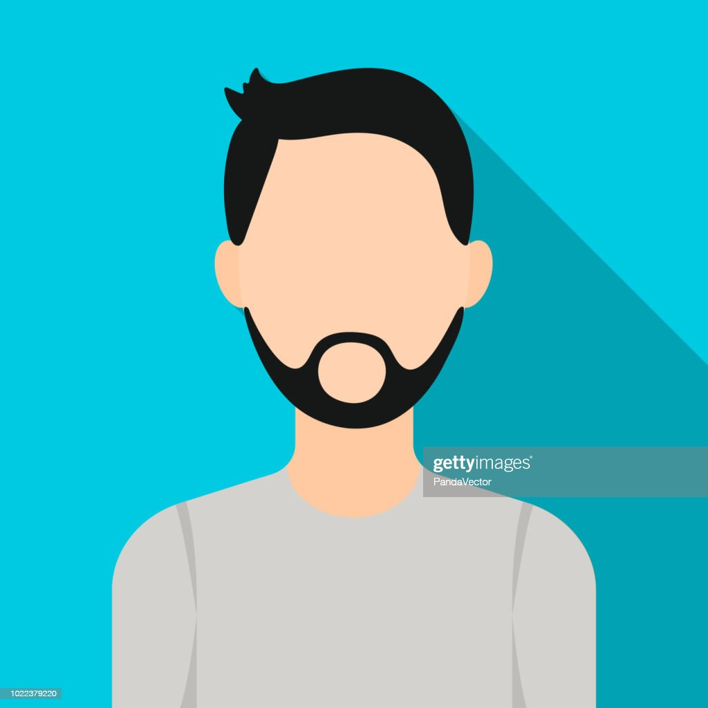 Man with beard icon flat. Single avatar,peaople icon from the big avatar flat.