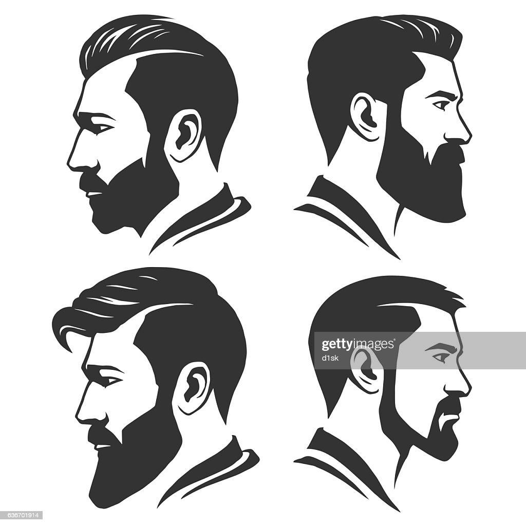 Man with beard variations silhouette