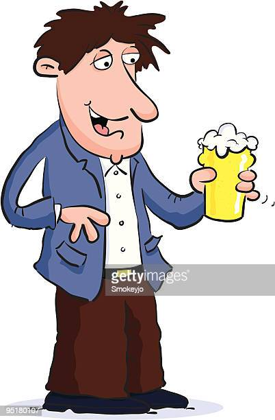man with beer - lager stock illustrations, clip art, cartoons, & icons