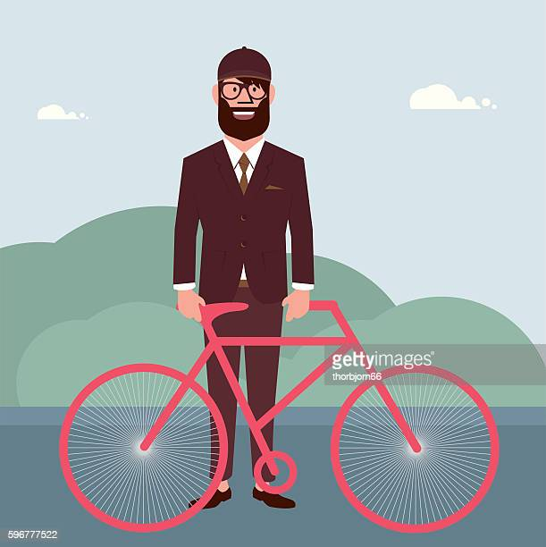 Man with bicycle outdoors