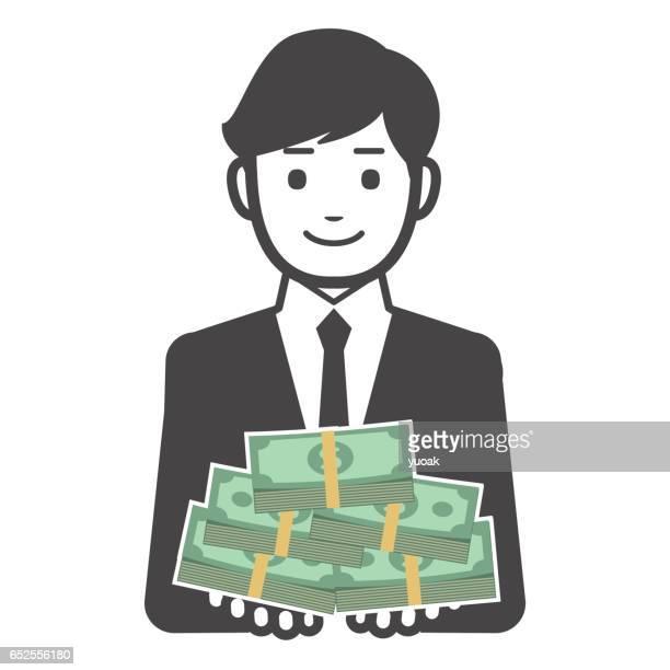 ilustraciones, imágenes clip art, dibujos animados e iconos de stock de hombre con mucho dinero - fajo de billetes