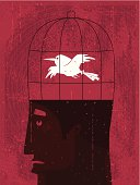 man with caged bird silhouette