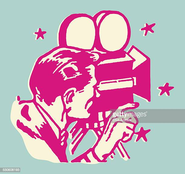 man with camera to eye - film director stock illustrations