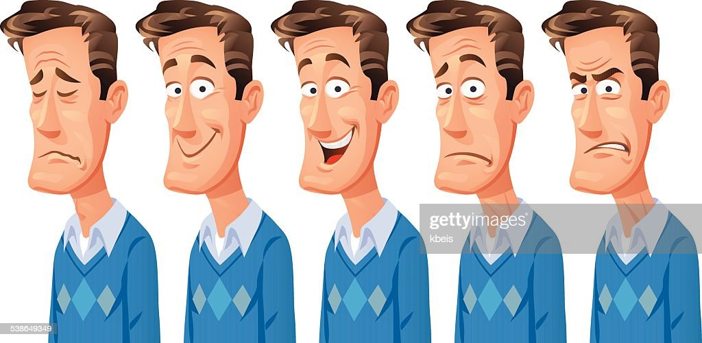 Man With Different Facial Expressions : stock illustration