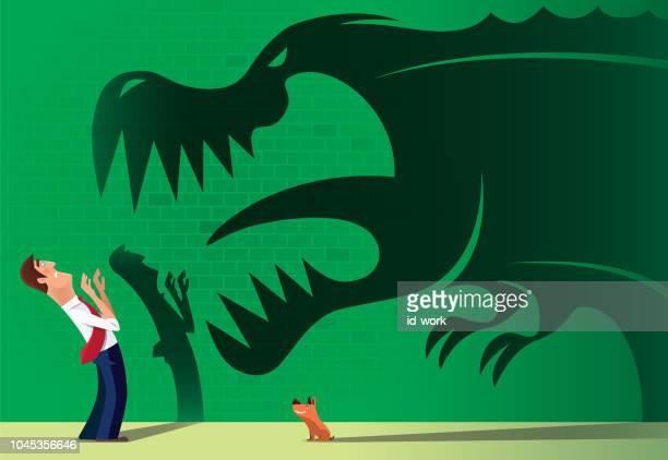 ilustrações de stock, clip art, desenhos animados e ícones de man with dog and dinosaur shadow - dinossauro desenho