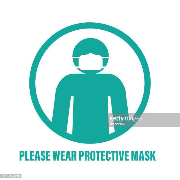 mann mit gesichtsmaske icon zeichen - mundschutz stock-grafiken, -clipart, -cartoons und -symbole