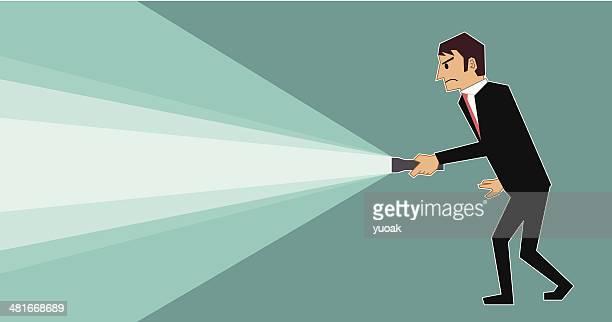 man with flashlight - flashlight stock illustrations, clip art, cartoons, & icons