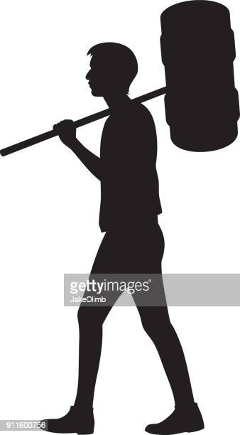 man with giant mallet silhouette - mallet hand tool stock illustrations