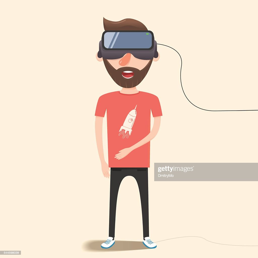 Man with glasses of virtual reality. Flat vector illustration