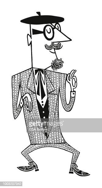 man with goatee wearing a beret and glasses - beat generation stock illustrations
