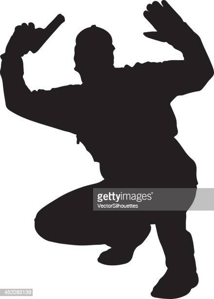 man with gun surrendering silhouette - crouching stock illustrations, clip art, cartoons, & icons