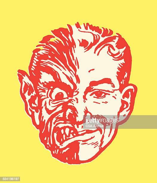 ilustrações de stock, clip art, desenhos animados e ícones de homem com meias monstro cara - lobisomem