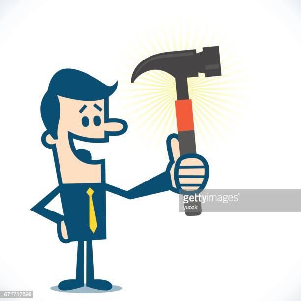 ilustraciones, imágenes clip art, dibujos animados e iconos de stock de hombre con martillo - miembro humano