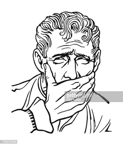 Man with Hand Covering His Mouth